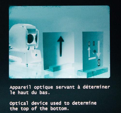 appareil optique servant à déterminer le haut du bas